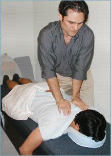 Los Angeles West Hollywood Beverly Hills Chiropractor Dr. Nick Campos adjusting the spine